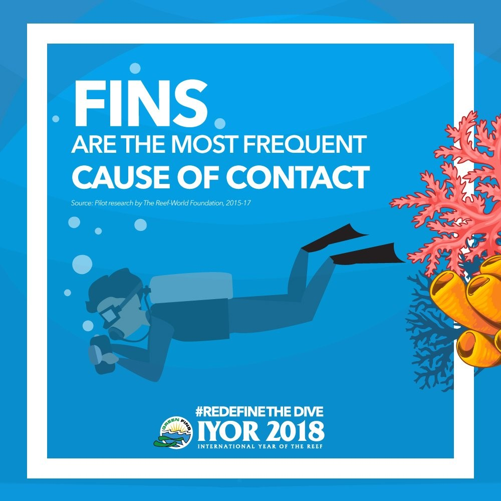 Fins are the most frequent cause of contact